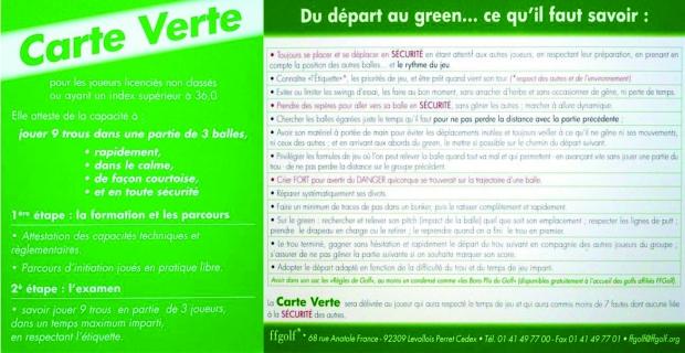Index Carte Verte Golf.Golf De L Ile De France Stage Golf Carte Verte 5 Jours